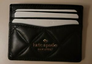 NWT Kate Spade Small Slim Card Holder NATALIA Leather Quilted Black Leather