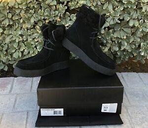 NIB $525 Alexander Wang Noah Suede Shearling Fur Chukka Boots Black Sz 41 US 8