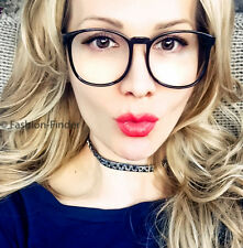 Big Thin Square Sexy Librarian Nerd Clear Lens Women Fashion Eyeglasses Frames