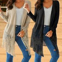 Women Kimono Cardigan Crochet Sheer Lace Ladies Tunic Jacket Coat Fall Top Shirt