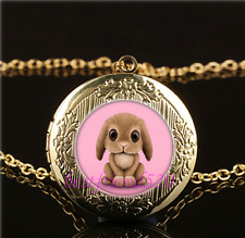 Pink Bunny Rabbit  Cabochon Glass Gold Plating Locket Pendant Necklace