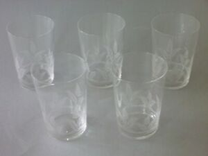 """Antique Victorian Beakers - 5 Etched Fern Glasses  - 4 1/8"""" or 10.5 cm tall"""