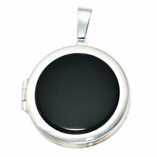 Medallón redonda 925 Sterling Plata 1 Ónix colgante de