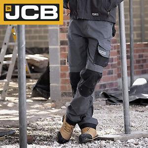 JCB Workwear Trade Rip Stop Multi Pocket Trousers Grey/Black D+IK