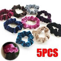 5pcs Velvet Hair Scrunchies Elastic Scrunchy Bobbles Ponytail Holder Hair Bands