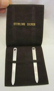 Vintage Pierre Cardin Sterling Silver Collar Stays w/ PC Logo in Pouch Unused