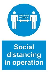 Social distancing in operation Virus Safety Sign Sticker / Plastic A4 A5