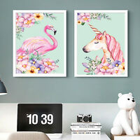 Pink Unicorn Flamingo Animal Poster Canvas Art Prints Baby Girl Room Decoration