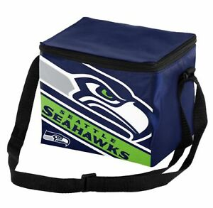 Seattle Seahawks Big Logo Striped 6 pack Cooler Lunch Box Bag Insulated