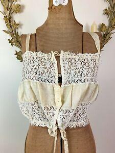 Antique Victorian / Edwardian Lace & Silk Corset Cover Camisole Brassiere
