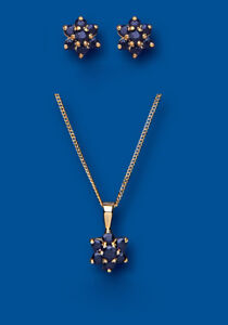 Sapphire Set Yellow Gold Pendant and Earrings Cluster Stud