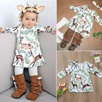 US Xmas Toddler Kids Baby Girls Christmas Pageant Tutu Dress Princess Clothes