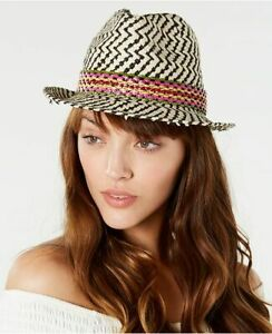 STEVE MADDEN zig zag packable textured fedora women's hat - Multicolor