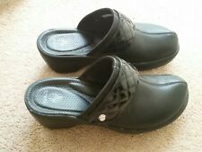 CROCS Black Patent leather accents Slip On Wedge Clogs Mules Womens Shoe Size 9