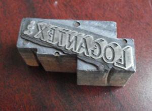 Vintage Metal Wood Logantex Inc Business Letterpress Print Block Stamp
