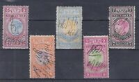 V82) Victoria 1887 £5 - £9 Long Type Stamp Duties set of 5 neat manuscript used