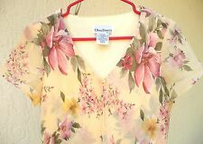 ULTRA DRESS SZ M CREAM PINK FLORAL PRINT CAPE OVERLAY 2ND WEDDING COUNTRY GOWN