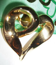 VALENTINES POLISHED GOLD SWIRL OPEN  HEART BROOCH/ PIN-gold finish