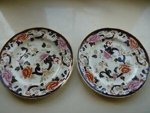 "Two Masons Ironstone Blue Mandalay Dinner Plates 10.5"" - Good Condition"