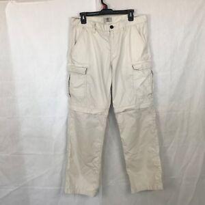 Timberland Men's Ivanhoe Lake Zip-Off Off White Hiking Pants / Shorts 34X32