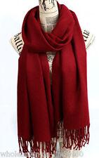 New Women's Fashion Burgundy 100% Cashmere Sacrf Pashmina Warm Wrap Shawl Scarf