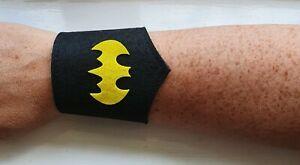 Superhero child fancy dress costume, felt wrist cuff, arm band BATMAN CATWOMAN