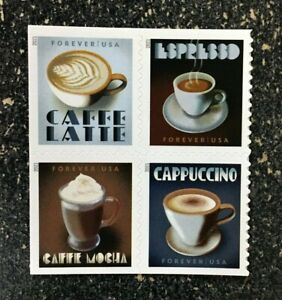 2021USA #5569-5572a Forever Espresso Drinks - Block of 4  Mint  coffee