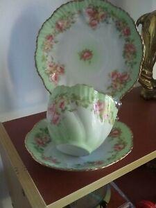 Tea Trio  MZ Austria peach & rose blush - high tea c1900 VGC