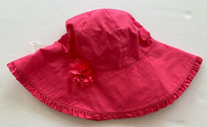 NWT Gymboree Seashell Coral 4T-5T Pink Ruffle Flower Sun Hat with Chin Strap