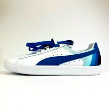Puma Pink Dolphin Clyde Sneakers White Blue Aqua Mens Size 10.5 Extra Laces NWOT