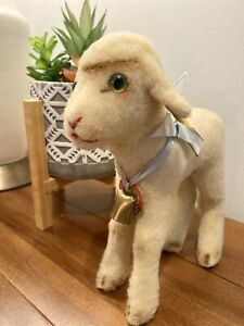 """Steiff 9"""" Vintage Mohair Lamb with ear tag, ribbon, bell, and button"""