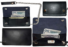 men's genuine leather bi-fold chain wallet motorcycle trucker biker Tan wallet