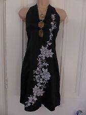 Topshop size 8 BNWT halterneck black dress silver embroidered flowers RRP £40