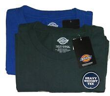 Dickie's Men's Heavyweight Crew Neck Short Sleeve T-Shirt Green & Blue Qty 2