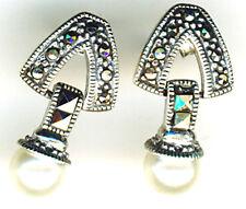 "925 Sterling Silver Pearl  Marcasite Drop / Dangle Earrings  Length 3/4""  (19mm)"