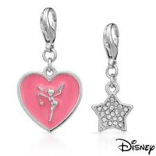 DISNEY COUTURE TINKERBELL PINK HEART & CRYSTAL STAR BRACELET 2 CHARMS SET~2 LEFT