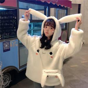 Women Girl Japanese Kawaii Hoodie +Bag Thicken Sherpa Sweatshirt Jumper Harajuku