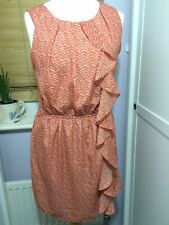 Lovey Orange Apricot Dress Size 12-14 Fully Lined Frill Ruffle