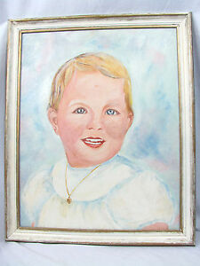 Vtg 1965 Framed Original Signed Oil Blond Baby Portrait