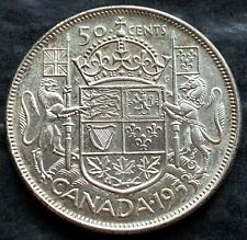 1953 Canada Silver 50 Cent Half Dollar Coin - Great Condition