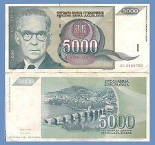 Yugoslavia P115, 5000 Dinara, Nobelist Andrić / bridge 1992