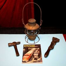 Antique RR RAILROAD Wrench, Hammer, Oil kerosene LAMP, Popular Science MAGAZINE