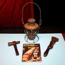 Antique RR RAILROAD Wrench, Hammer, Oil kerosene LAMP, Popular Science MAGAZINE