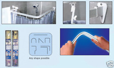 WHITE FLEXIBLE SHOWER CURTAIN RAIL TRACK POLE BENDY
