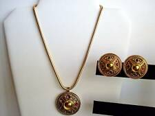 Vintage Snake Chain With Sparkly Medallion & Earrings Estate Jewelry Nice