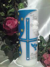 Taufkerze Kommunionkerze Junge Mädchen mit Engel 200/70mm Blau/Silber T020