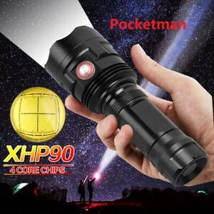 200000LM LED Flashlight XHP90 USB Charging Tactical Torch Camping Hunting Lamp