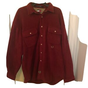 Vintage Tommy Hilfiger Mens Large Ranger Long Sleeve Fleece Shirt Red