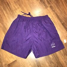 NEW Vtg 90s LOTTO Purple ATLETA Mens LARGE Soccer Nylon Shorts Pockets NOS