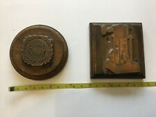 VINTAGE LETTERPRESS x 2 - COAT OF ARMS and INDUSTRIAL MACHINE